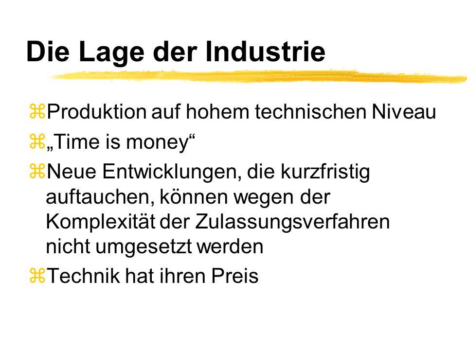 Die Lage der Industrie zProduktion auf hohem technischen Niveau zTime is money zNeue Entwicklungen, die kurzfristig auftauchen, können wegen der Kompl