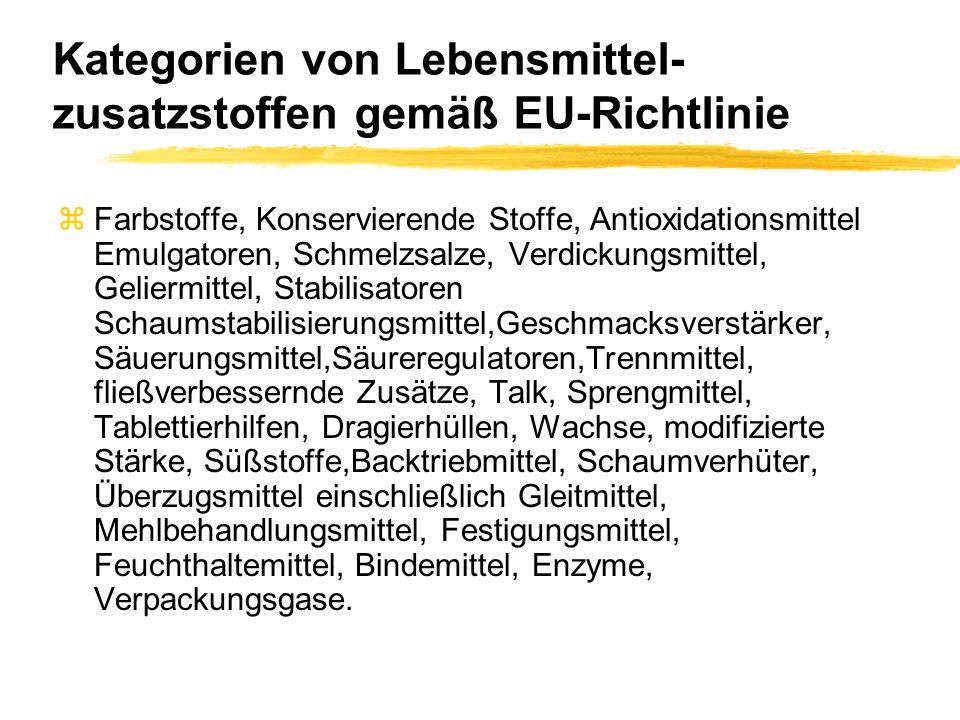 Kategorien von Lebensmittel- zusatzstoffen gemäß EU-Richtlinie zFarbstoffe, Konservierende Stoffe, Antioxidationsmittel Emulgatoren, Schmelzsalze, Ver