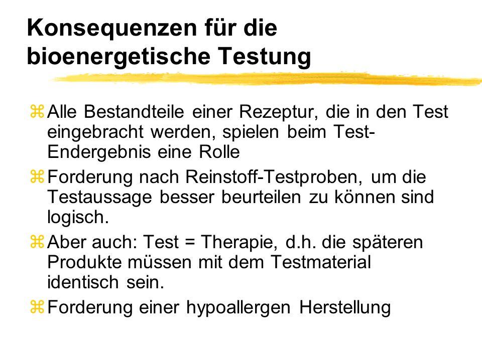 Konsequenzen für die bioenergetische Testung zAlle Bestandteile einer Rezeptur, die in den Test eingebracht werden, spielen beim Test- Endergebnis ein