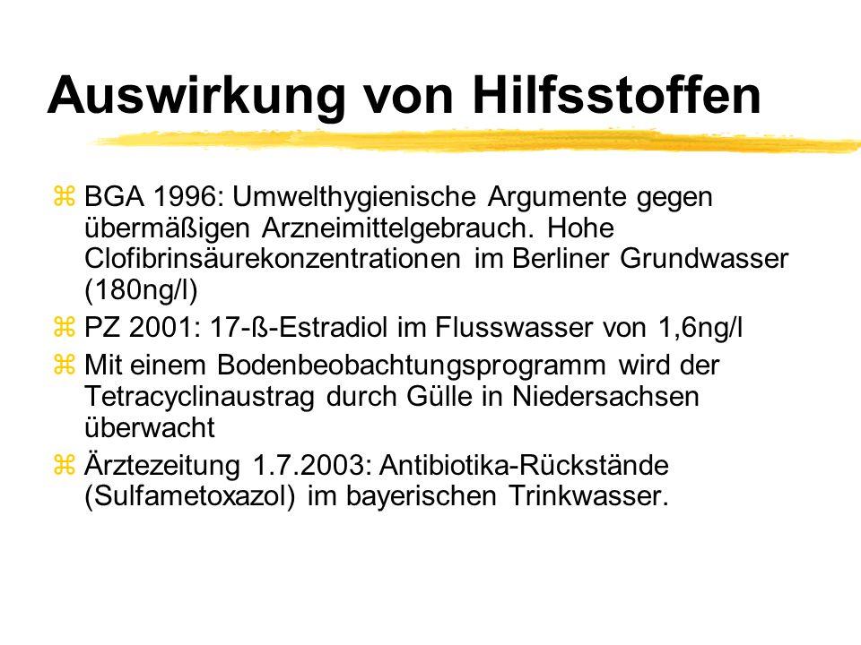 Auswirkung von Hilfsstoffen zBGA 1996: Umwelthygienische Argumente gegen übermäßigen Arzneimittelgebrauch. Hohe Clofibrinsäurekonzentrationen im Berli