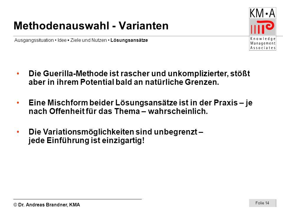 © Dr. Andreas Brandner, KMA Folie 14 Methodenauswahl - Varianten Die Guerilla-Methode ist rascher und unkomplizierter, stößt aber in ihrem Potential b