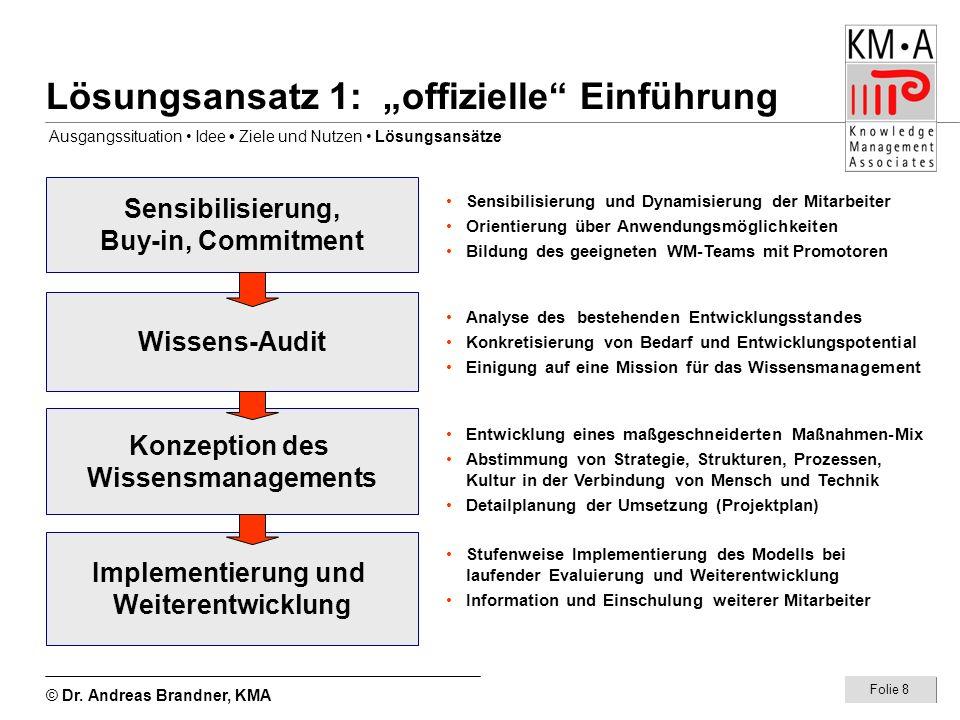 © Dr. Andreas Brandner, KMA Folie 8 Lösungsansatz 1: offizielle Einführung Sensibilisierung, Buy-in, Commitment Wissens-Audit Konzeption des Wissensma