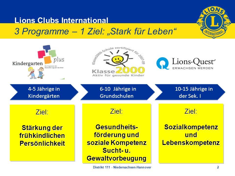 Lions Clubs International 3 Programme – 1 Ziel: Stark für Leben Distrikt 111 - Niedersachsen-Hannover2 4-5 Jährige in Kindergärten 4-5 Jährige in Kind