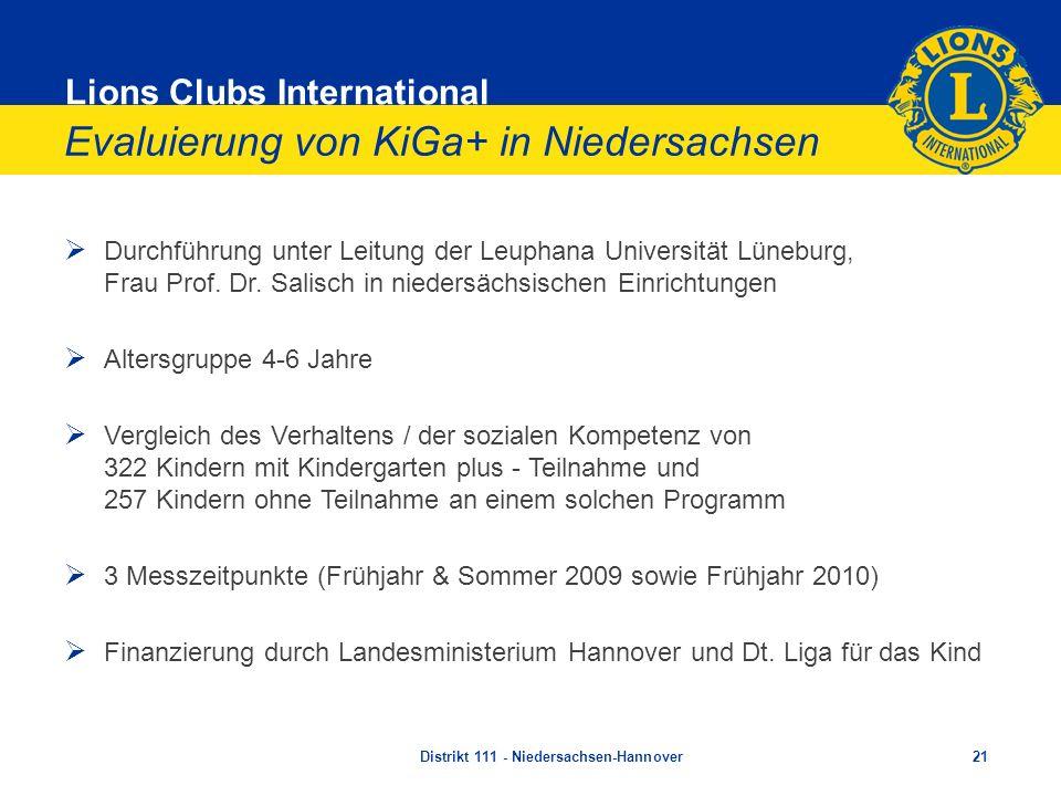 Lions Clubs International Evaluierung von KiGa+ in Niedersachsen Durchführung unter Leitung der Leuphana Universität Lüneburg, Frau Prof. Dr. Salisch