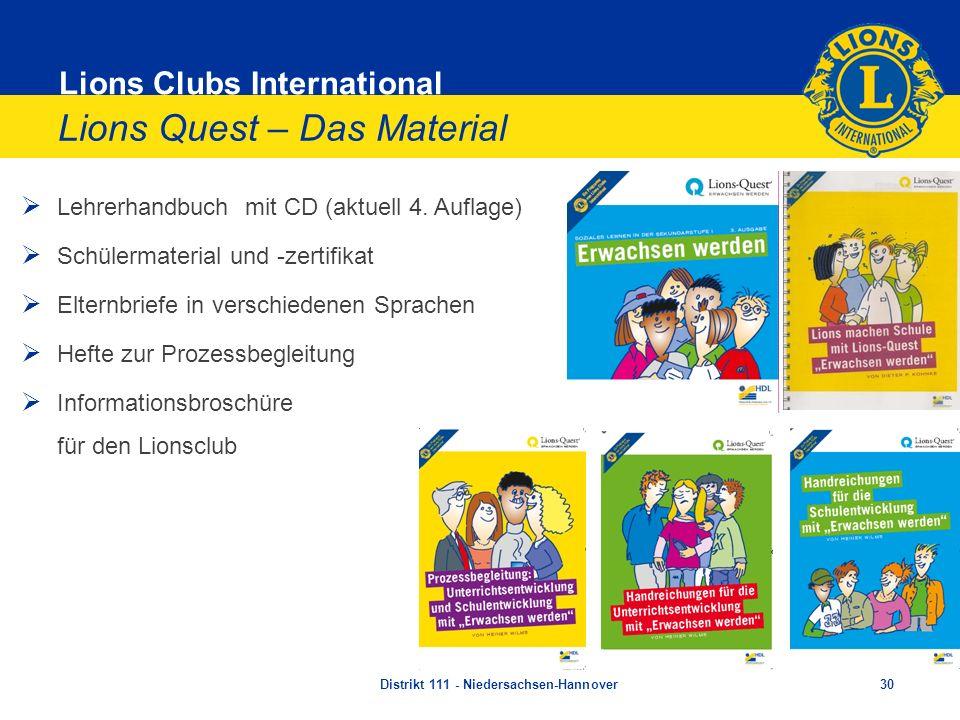 Lions Clubs International Lions Quest – Das Material Lehrerhandbuch mit CD (aktuell 4. Auflage) Schülermaterial und -zertifikat Elternbriefe in versch