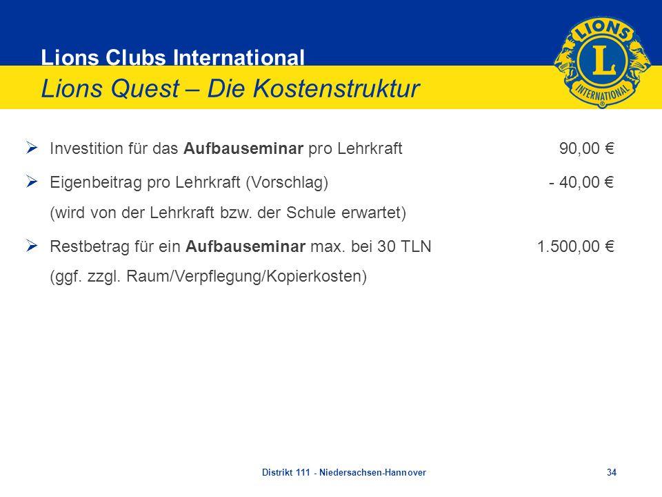 Lions Clubs International Lions Quest – Die Kostenstruktur Investition für das Aufbauseminar pro Lehrkraft 90,00 Eigenbeitrag pro Lehrkraft (Vorschlag