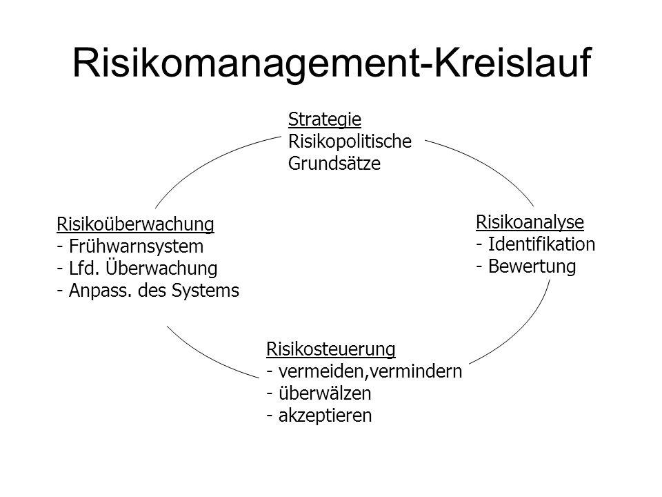 Risikomanagement-Kreislauf Strategie Risikopolitische Grundsätze Risikosteuerung - vermeiden,vermindern - überwälzen - akzeptieren Risikoanalyse - Ide