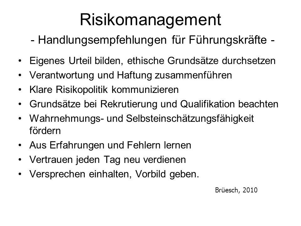 Risikomanagement - Handlungsempfehlungen für Führungskräfte - Eigenes Urteil bilden, ethische Grundsätze durchsetzen Verantwortung und Haftung zusamme