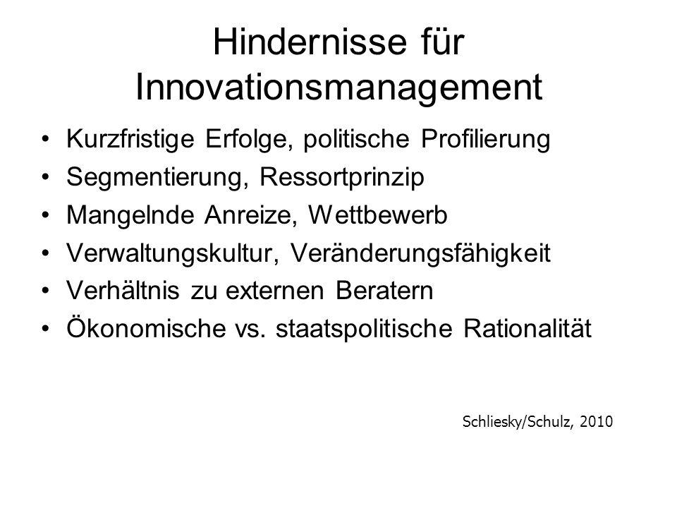 Hindernisse für Innovationsmanagement Kurzfristige Erfolge, politische Profilierung Segmentierung, Ressortprinzip Mangelnde Anreize, Wettbewerb Verwal