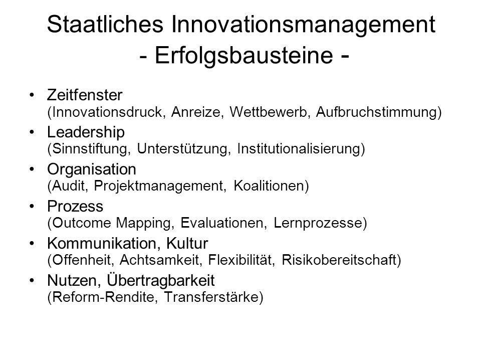 Staatliches Innovationsmanagement - Erfolgsbausteine - Zeitfenster (Innovationsdruck, Anreize, Wettbewerb, Aufbruchstimmung) Leadership (Sinnstiftung,