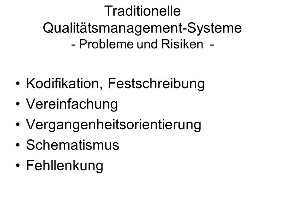 Traditionelle Qualitätsmanagement-Systeme - Probleme und Risiken - Kodifikation, Festschreibung Vereinfachung Vergangenheitsorientierung Schematismus