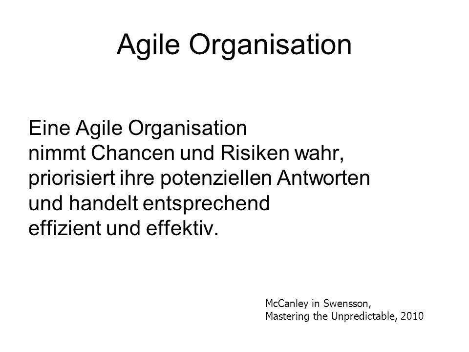 Agile Organisation Eine Agile Organisation nimmt Chancen und Risiken wahr, priorisiert ihre potenziellen Antworten und handelt entsprechend effizient