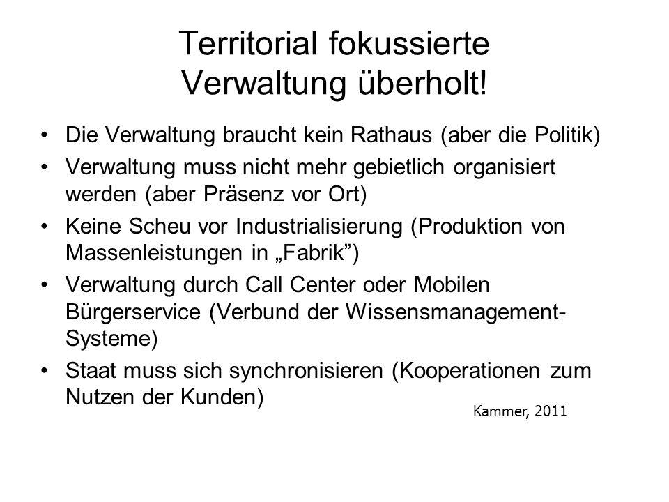 Territorial fokussierte Verwaltung überholt! Die Verwaltung braucht kein Rathaus (aber die Politik) Verwaltung muss nicht mehr gebietlich organisiert