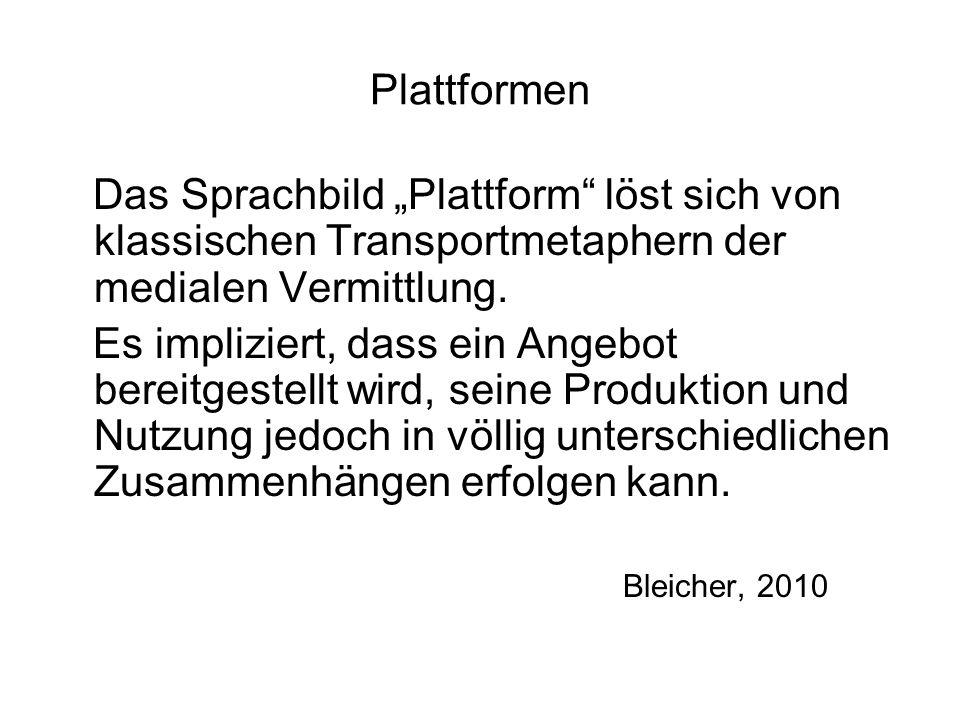 Plattformen Das Sprachbild Plattform löst sich von klassischen Transportmetaphern der medialen Vermittlung. Es impliziert, dass ein Angebot bereitgest