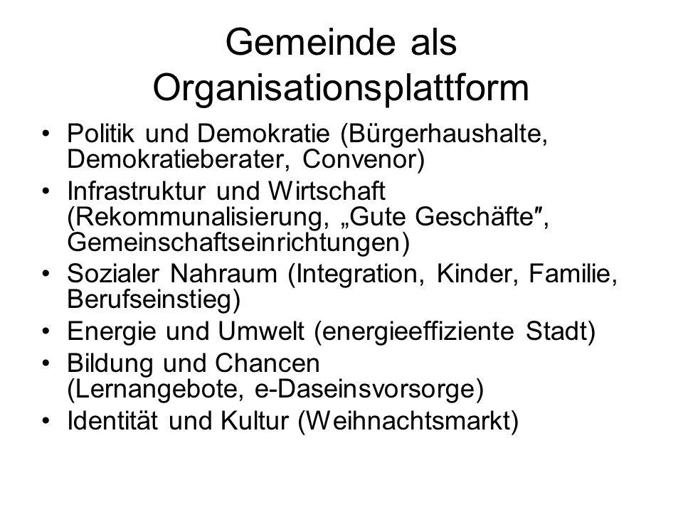 Gemeinde als Organisationsplattform Politik und Demokratie (Bürgerhaushalte, Demokratieberater, Convenor) Infrastruktur und Wirtschaft (Rekommunalisie