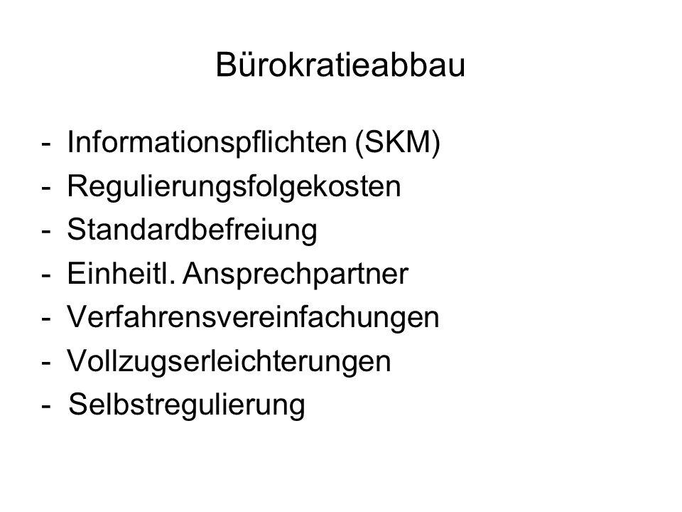 Bürokratieabbau -Informationspflichten (SKM) -Regulierungsfolgekosten -Standardbefreiung -Einheitl. Ansprechpartner -Verfahrensvereinfachungen -Vollzu
