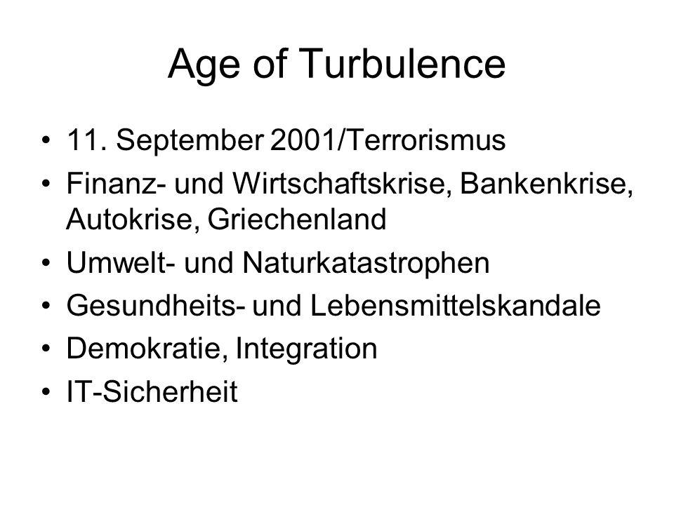 Age of Turbulence 11. September 2001/Terrorismus Finanz- und Wirtschaftskrise, Bankenkrise, Autokrise, Griechenland Umwelt- und Naturkatastrophen Gesu