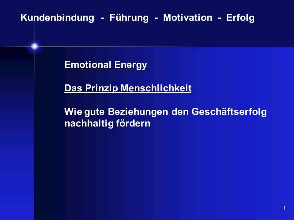 1 Kundenbindung - Führung - Motivation - Erfolg Emotional Energy Das Prinzip Menschlichkeit Wie gute Beziehungen den Geschäftserfolg nachhaltig förder