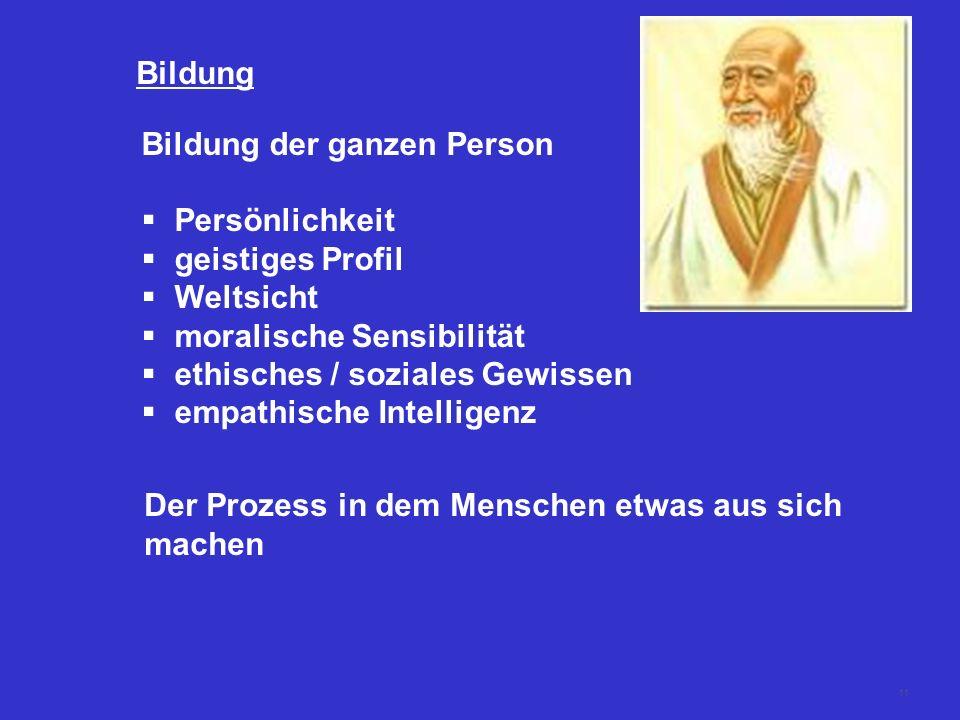 11 Bildung Bildung der ganzen Person Persönlichkeit geistiges Profil Weltsicht moralische Sensibilität ethisches / soziales Gewissen empathische Intel
