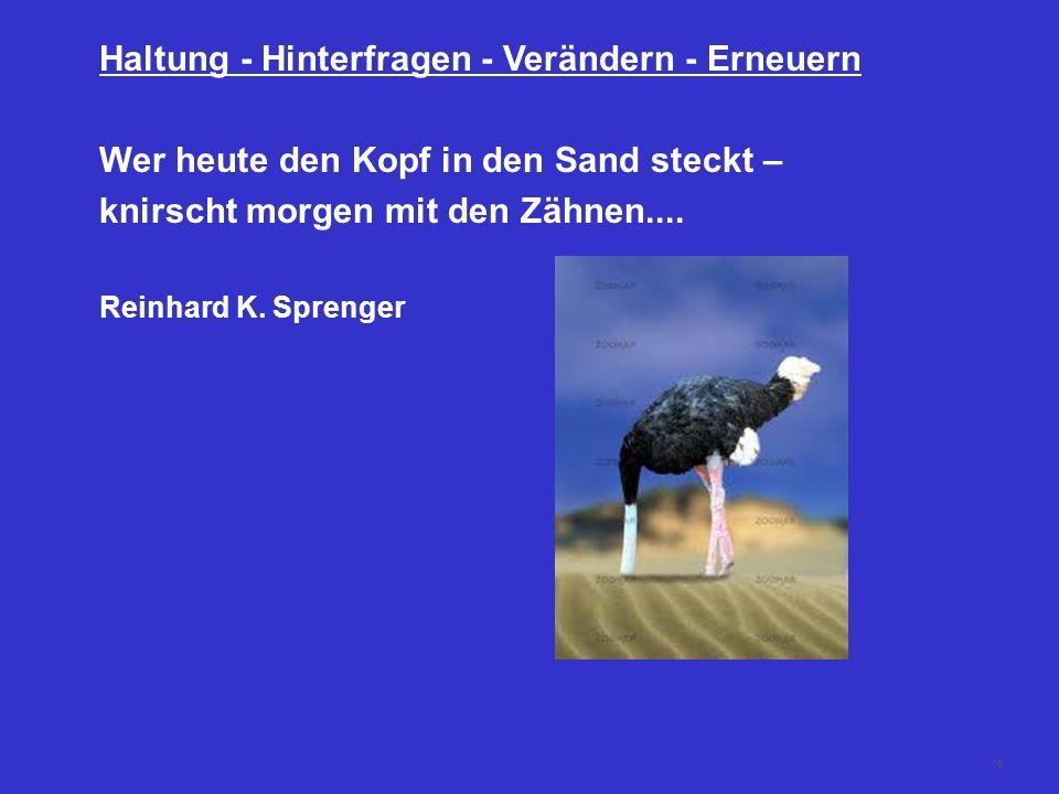 16 Haltung - Hinterfragen - Verändern - Erneuern Wer heute den Kopf in den Sand steckt – knirscht morgen mit den Zähnen.... Reinhard K. Sprenger