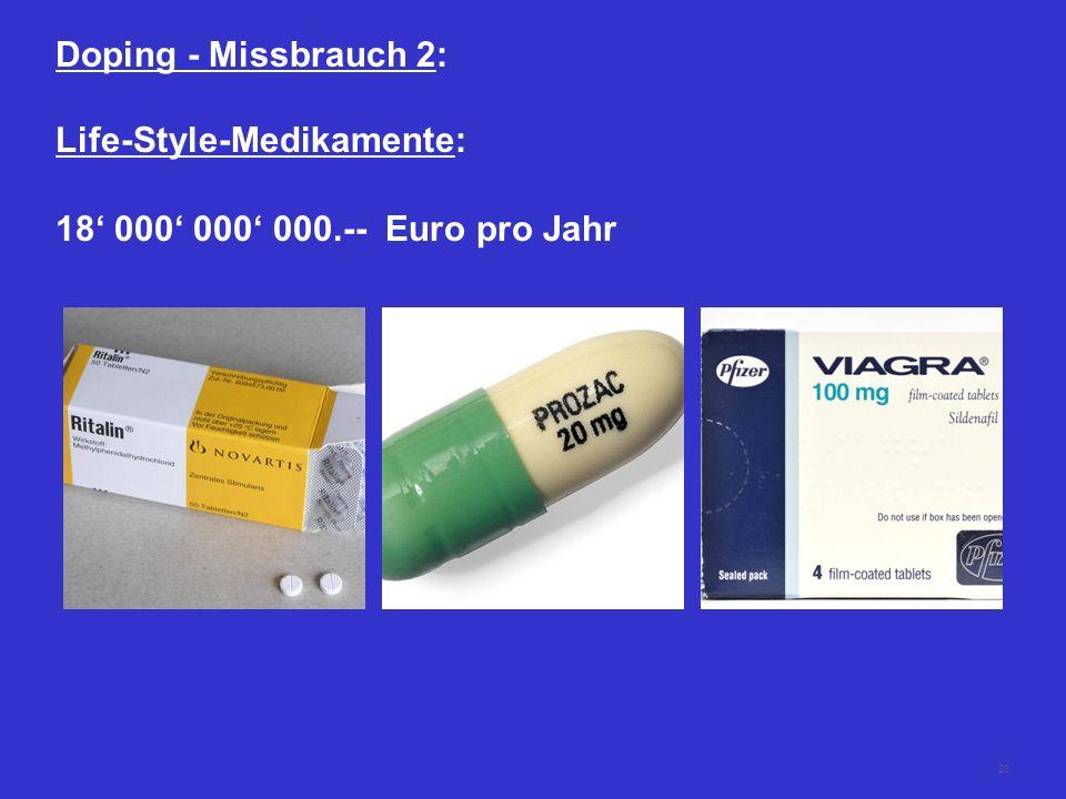 23 Doping - Missbrauch 2: Life-Style-Medikamente: 18 000 000 000.-- Euro pro Jahr