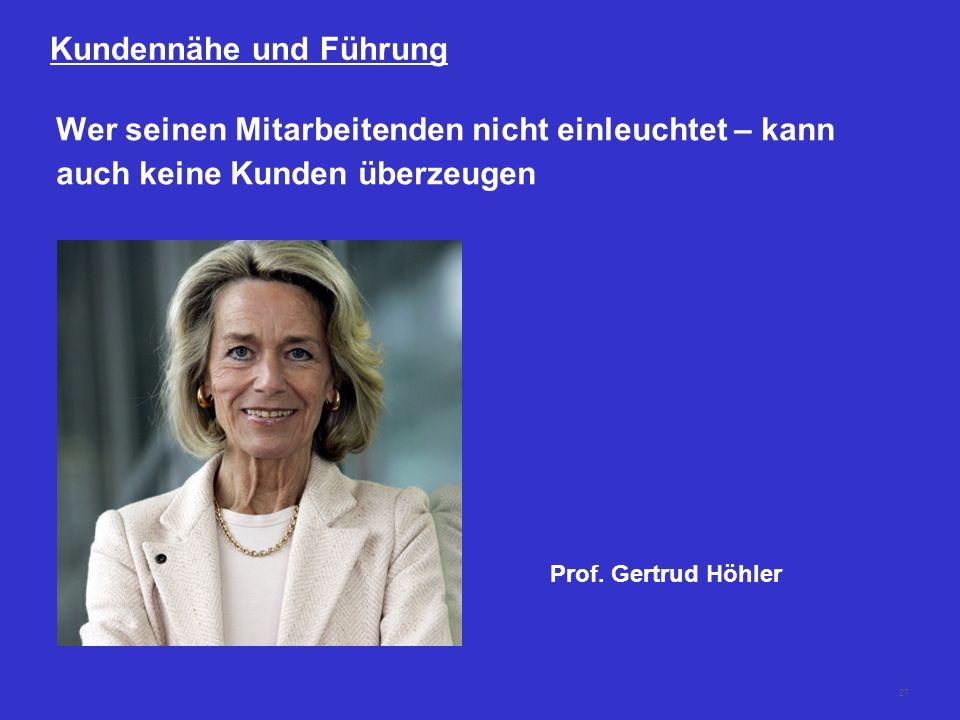 27 Kundennähe und Führung Wer seinen Mitarbeitenden nicht einleuchtet – kann auch keine Kunden überzeugen Prof. Gertrud Höhler