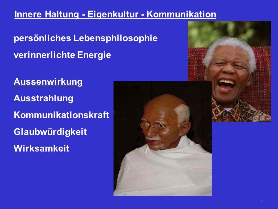 40 Innere Haltung - Eigenkultur - Kommunikation persönliches Lebensphilosophie verinnerlichte Energie Aussenwirkung Ausstrahlung Kommunikationskraft G