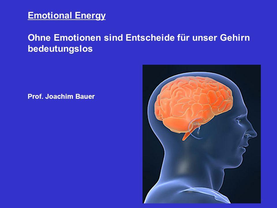 50 Emotional Energy Ohne Emotionen sind Entscheide für unser Gehirn bedeutungslos Prof. Joachim Bauer