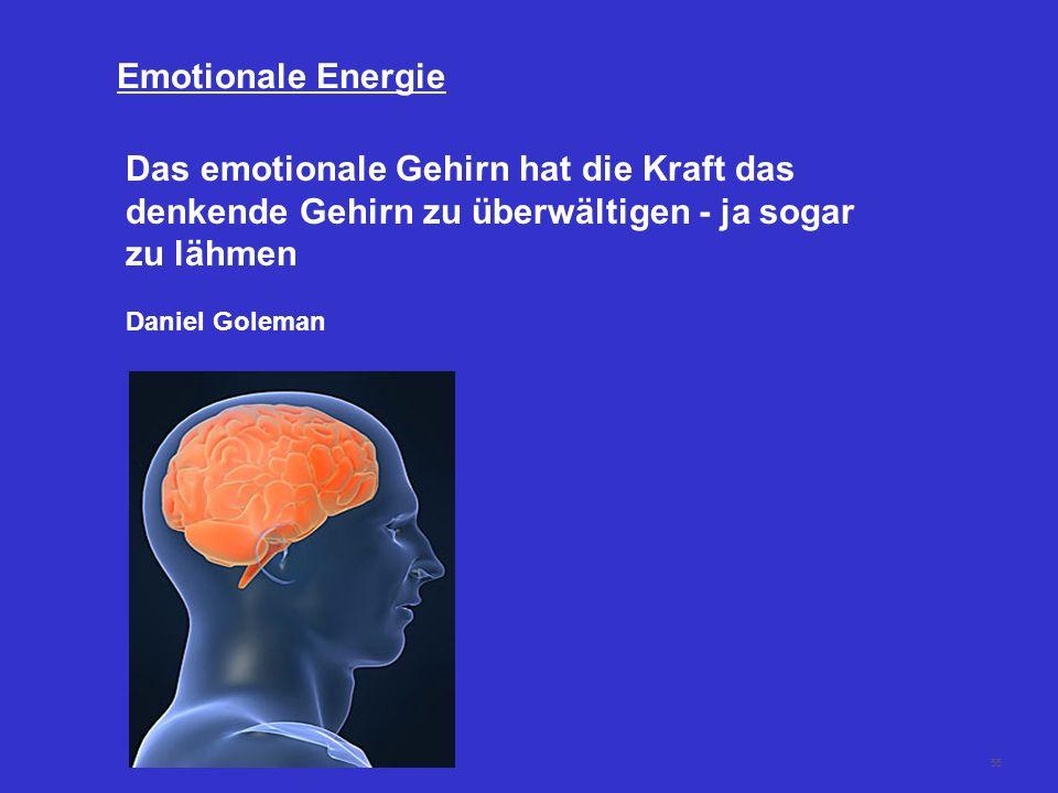 55 Das emotionale Gehirn hat die Kraft das denkende Gehirn zu überwältigen - ja sogar zu lähmen Daniel Goleman Emotionale Energie