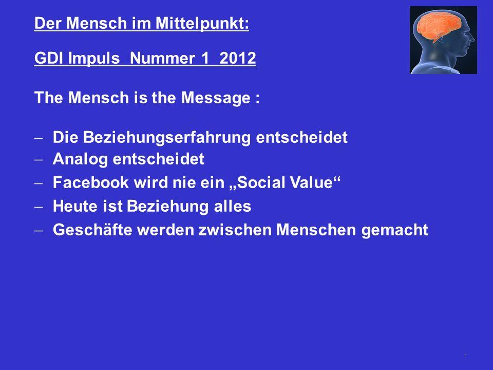 7 Der Mensch im Mittelpunkt: GDI Impuls Nummer 1 2012 The Mensch is the Message : Die Beziehungserfahrung entscheidet Analog entscheidet Facebook wird