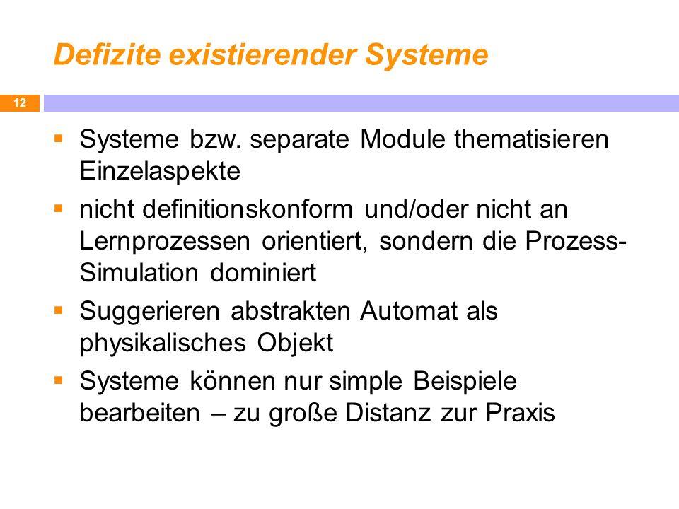 Defizite existierender Systeme Systeme bzw. separate Module thematisieren Einzelaspekte nicht definitionskonform und/oder nicht an Lernprozessen orien