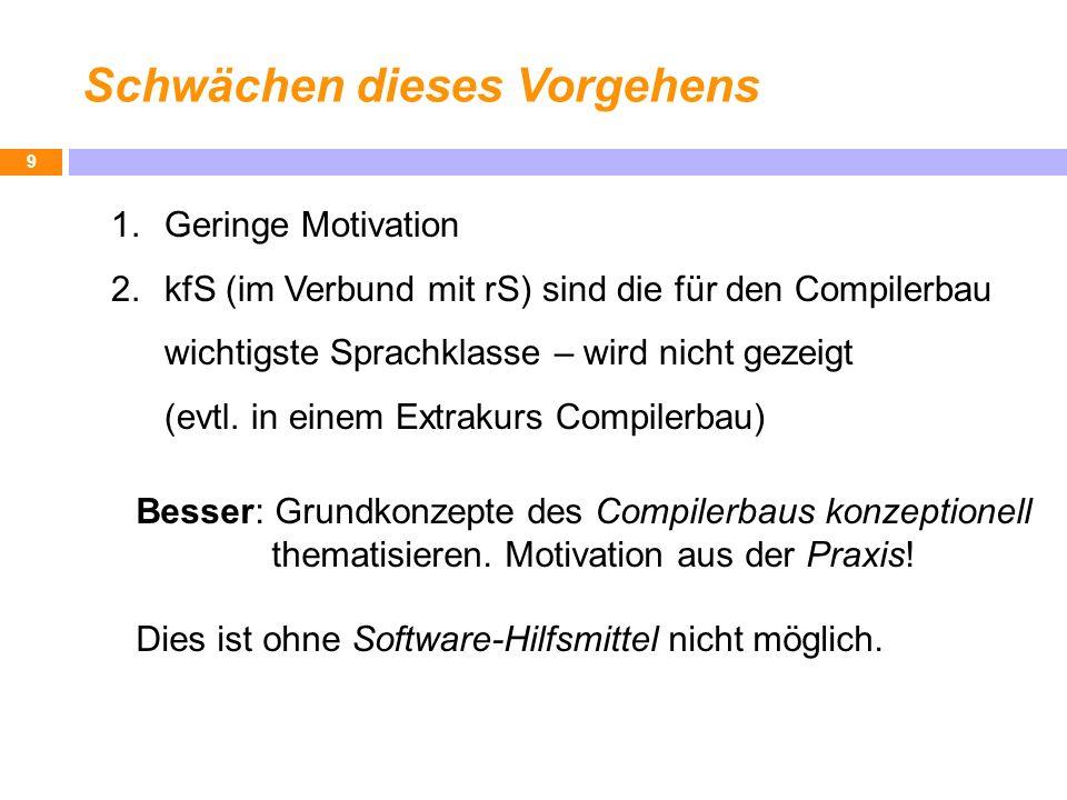 Schwächen dieses Vorgehens 9 1.Geringe Motivation 2.kfS (im Verbund mit rS) sind die für den Compilerbau wichtigste Sprachklasse – wird nicht gezeigt