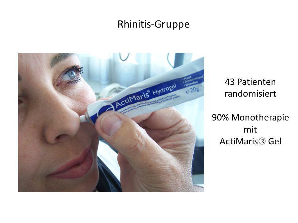 Rhinitis-Gruppe 43 Patienten randomisiert 90% Monotherapie mit ActiMaris Gel