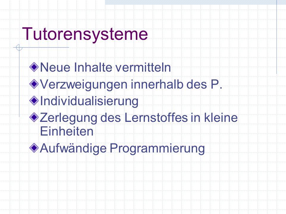 Übungsprogramme Drill and Practice Einüben von Fertigkeiten Behavioristischer Ansatz (Frage - Antwort) Sofortiges Feedback Lerntempo, Lernumwelt, Beur