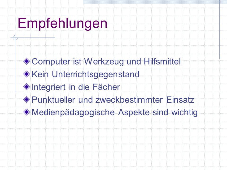 1. Computer an der Primarschule Computer allein können den Unterricht nicht verändern. Voraussetzungen für den Einsatz des Computers sind: - die pädag
