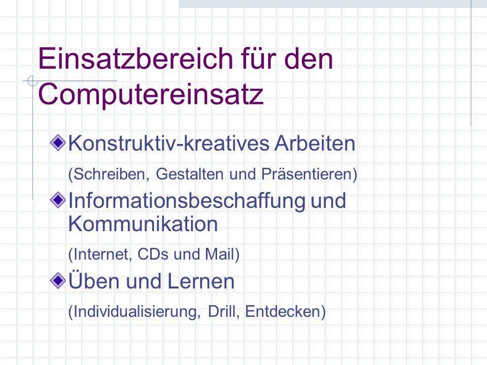 Einsatzbereich für den Computereinsatz Konstruktiv-kreatives Arbeiten (Schreiben, Gestalten und Präsentieren) Informationsbeschaffung und Kommunikation (Internet, CDs und Mail) Üben und Lernen (Individualisierung, Drill, Entdecken)