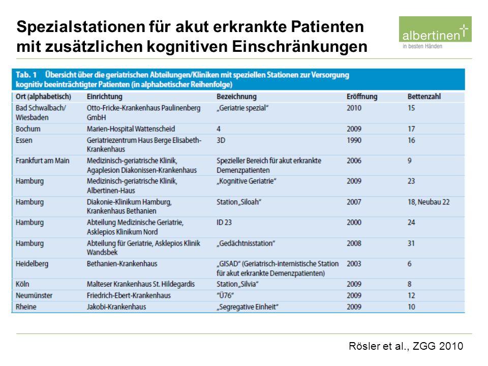 Rösler et al., ZGG 2010 Spezialstationen für akut erkrankte Patienten mit zusätzlichen kognitiven Einschränkungen