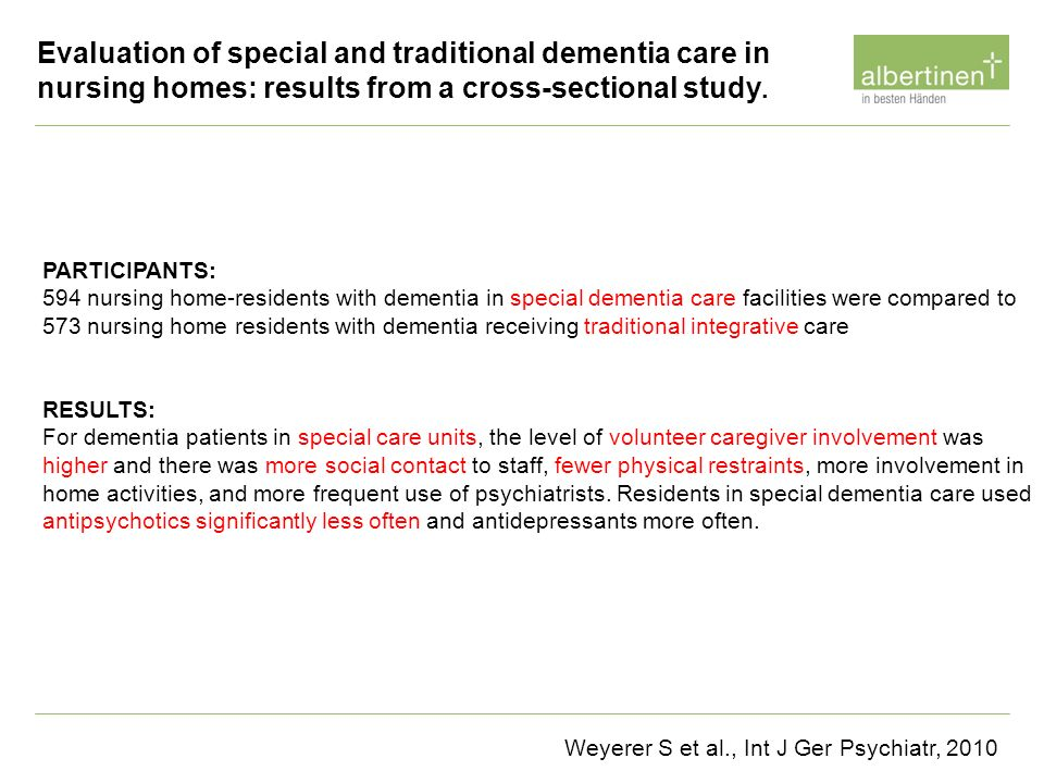 PARTICIPANTS: 594 nursing home-residents with dementia in special dementia care facilities were compared to 573 nursing home residents with dementia r