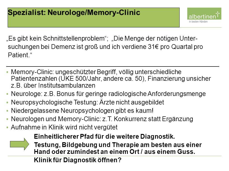 Spezialist: Neurologe/Memory-Clinic Es gibt kein Schnittstellenproblem; Die Menge der nötigen Unter- suchungen bei Demenz ist groß und ich verdiene 31