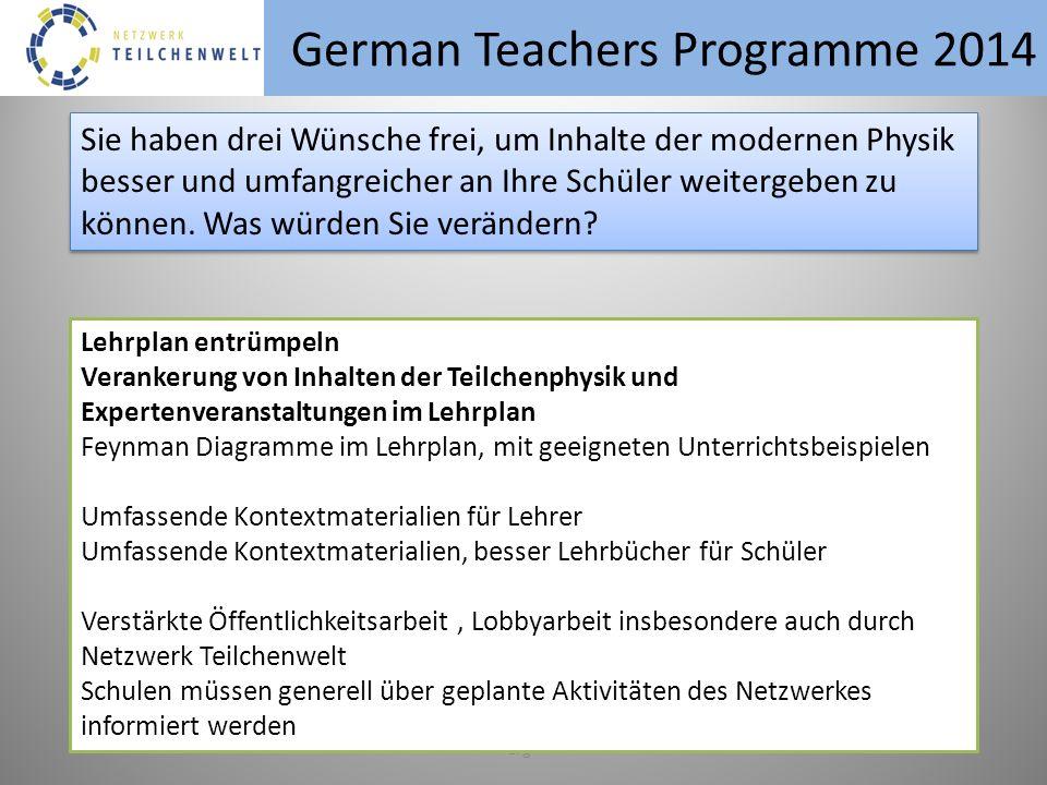 German Teachers Programme 2014 erg Sie haben drei Wünsche frei, um Inhalte der modernen Physik besser und umfangreicher an Ihre Schüler weitergeben zu können.