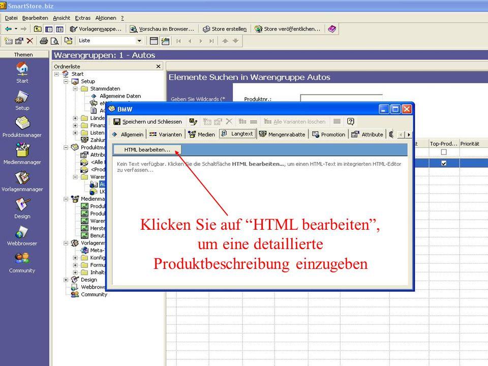 Klicken Sie auf HTML bearbeiten, um eine detaillierte Produktbeschreibung einzugeben