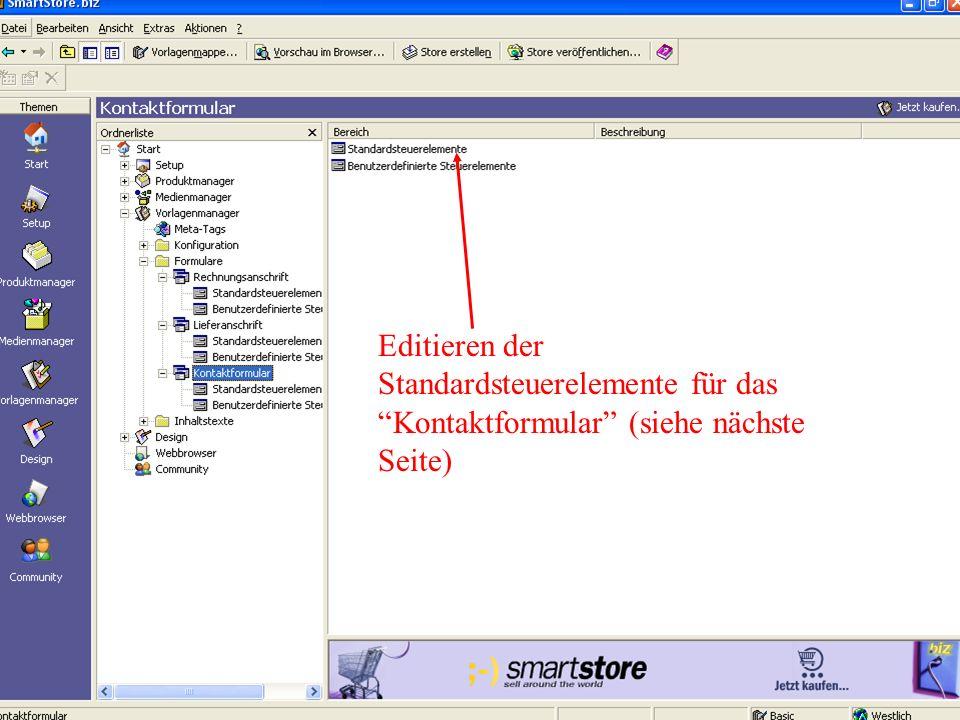 Editieren der Standardsteuerelemente für das Kontaktformular (siehe nächste Seite)