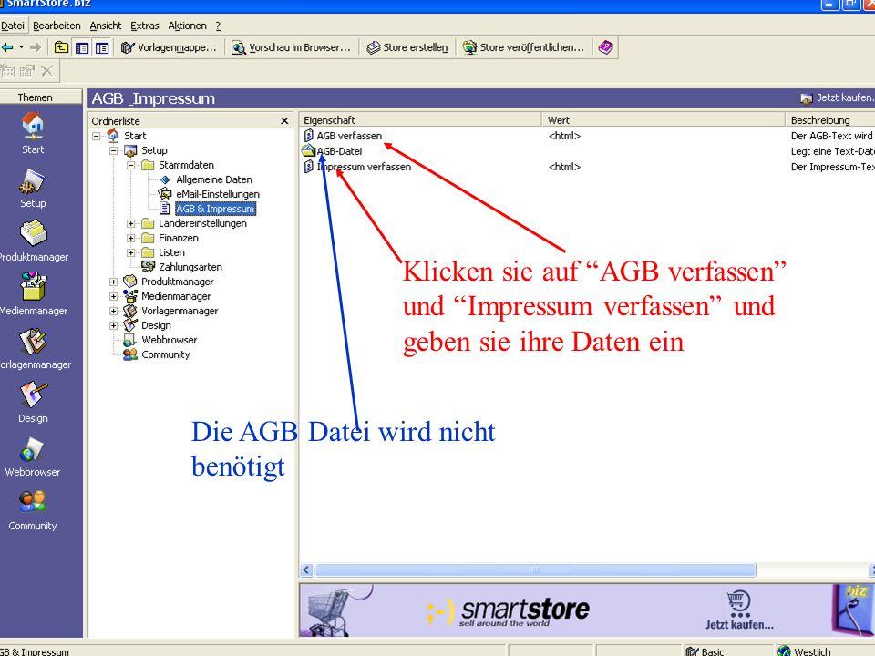 Klicken sie auf AGB verfassen und Impressum verfassen und geben sie ihre Daten ein Die AGB Datei wird nicht benötigt