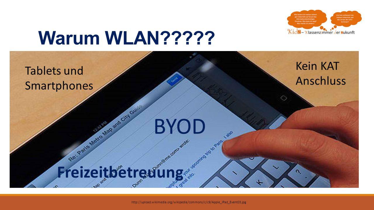 Warum WLAN????? Tablets und Smartphones BYOD Kein KAT Anschluss Freizeitbetreuung http://upload.wikimedia.org/wikipedia/commons/c/c9/Apple_iPad_Event0