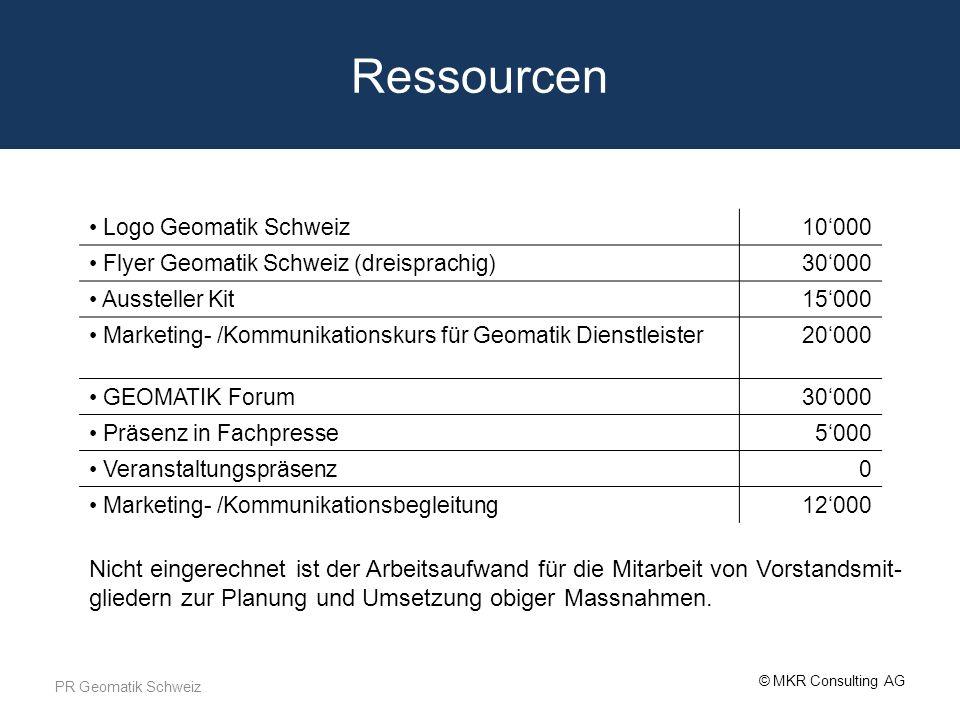 © MKR Consulting AG Ressourcen PR Geomatik Schweiz Logo Geomatik Schweiz10000 Flyer Geomatik Schweiz (dreisprachig)30000 Aussteller Kit15000 Marketing
