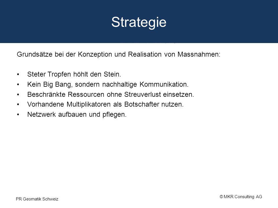 Strategie Grundsätze bei der Konzeption und Realisation von Massnahmen: Steter Tropfen höhlt den Stein. Kein Big Bang, sondern nachhaltige Kommunikati