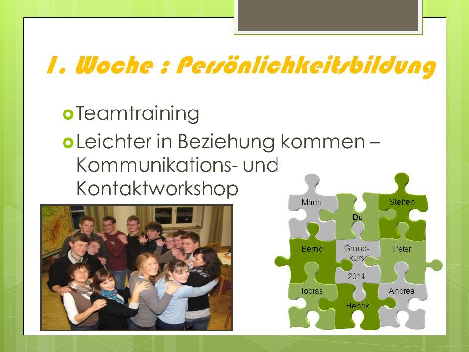 1. Woche : Persönlichkeitsbildung Teamtraining Leichter in Beziehung kommen – Kommunikations- und Kontaktworkshop Peter Henrik Andrea Grund- kurs 2014