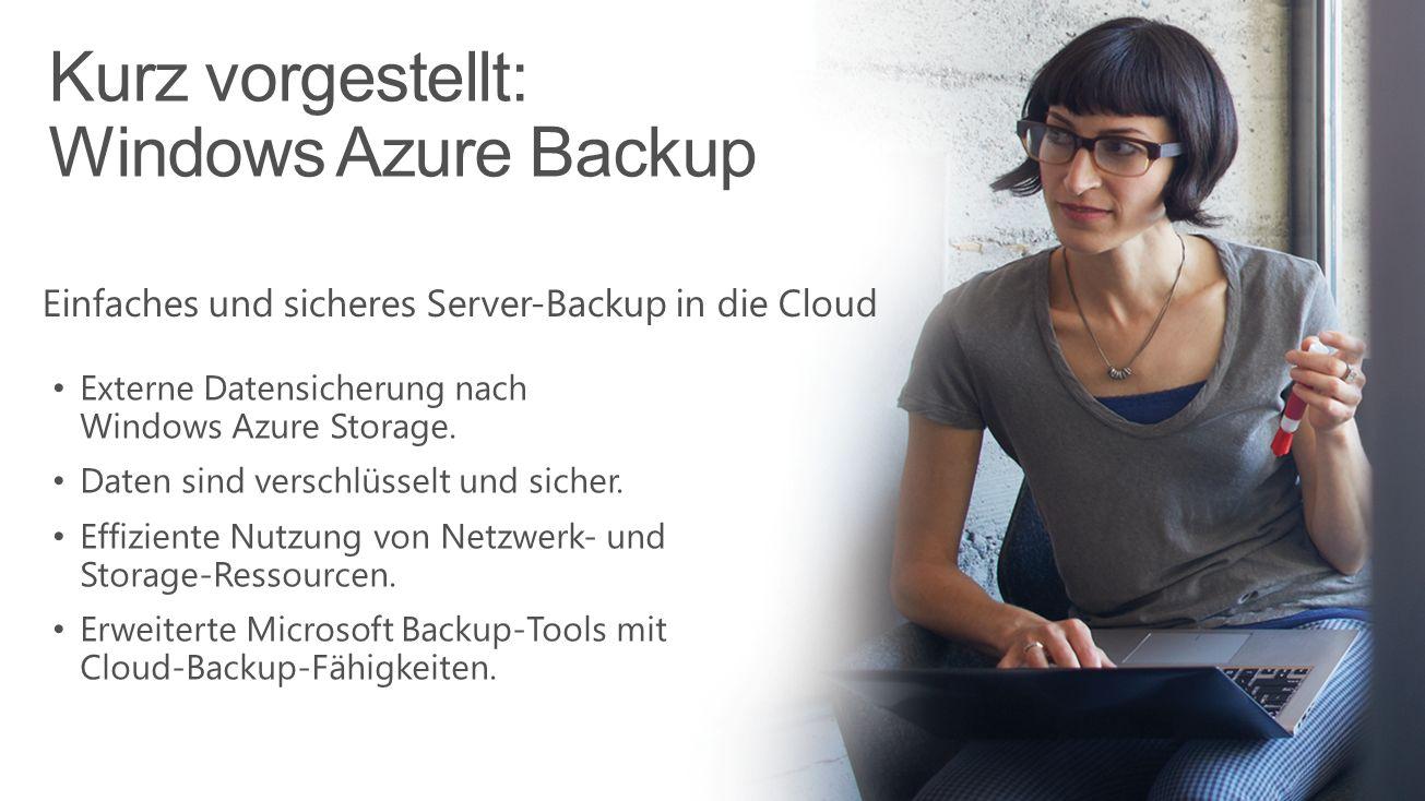 Kurz vorgestellt: Windows Azure Backup Microsoft Confidential Einfaches und sicheres Server-Backup in die Cloud Externe Datensicherung nach Windows Az
