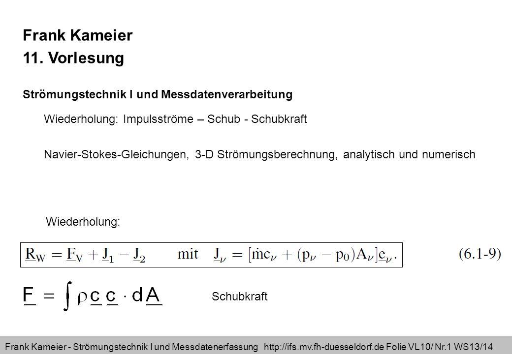 Frank Kameier - Strömungstechnik I und Messdatenerfassung http://ifs.mv.fh-duesseldorf.de Folie VL10/ Nr.1 WS13/14 Frank Kameier 11. Vorlesung Strömun