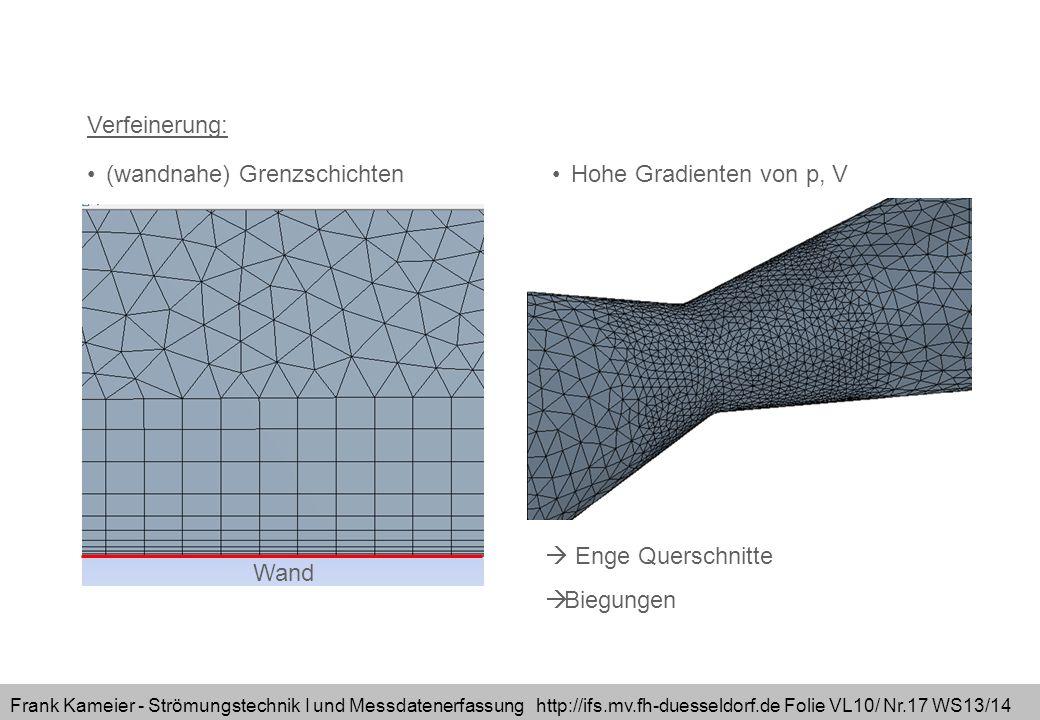 Frank Kameier - Strömungstechnik I und Messdatenerfassung http://ifs.mv.fh-duesseldorf.de Folie VL10/ Nr.17 WS13/14 Verfeinerung: Hohe Gradienten von p, V(wandnahe) Grenzschichten Enge Querschnitte Biegungen Wand